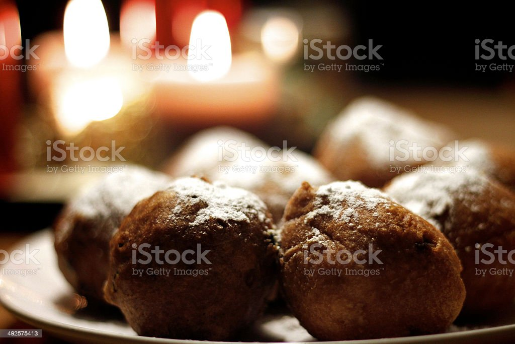 Plate of oliebollen presented in a cosy setting stock photo