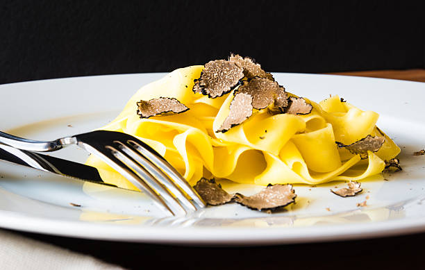 Plate of pasta. Pasta tagliatelli with truffles.Restaurant menu plate. tagliatelle stock pictures, royalty-free photos & images