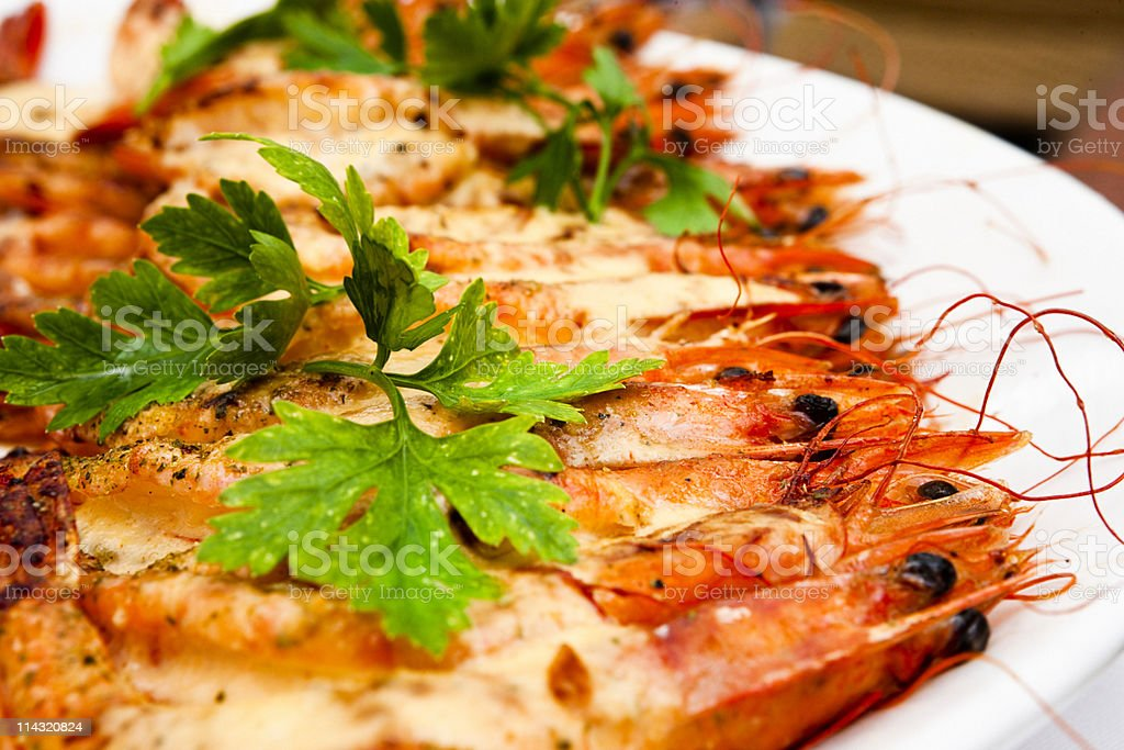 Plate of prawns royalty-free stock photo