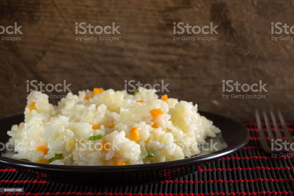 Plate of rice with vegetables stock photo