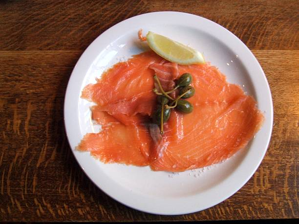 plate of salmon appetiser starter meal stock photo