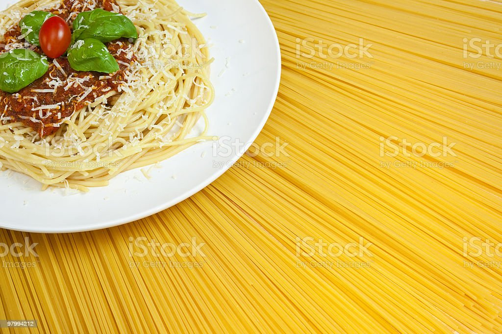 Plate of Spaghetti Bolognese on A Dried Pasta Sunny Display royalty-free stock photo