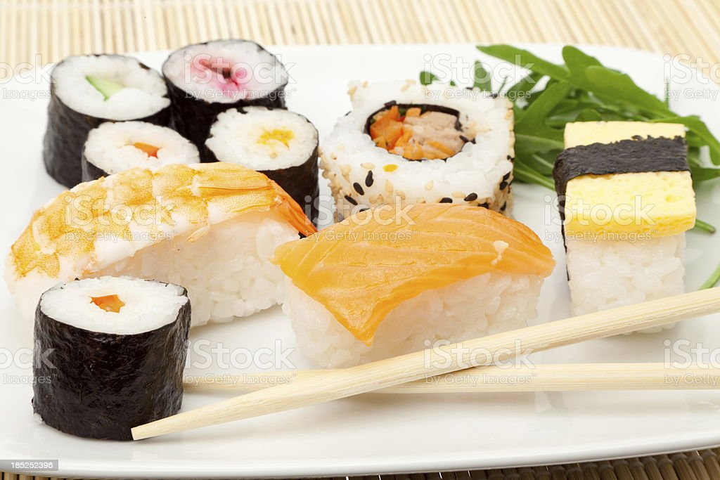 Plate of Sushi mix royalty-free stock photo