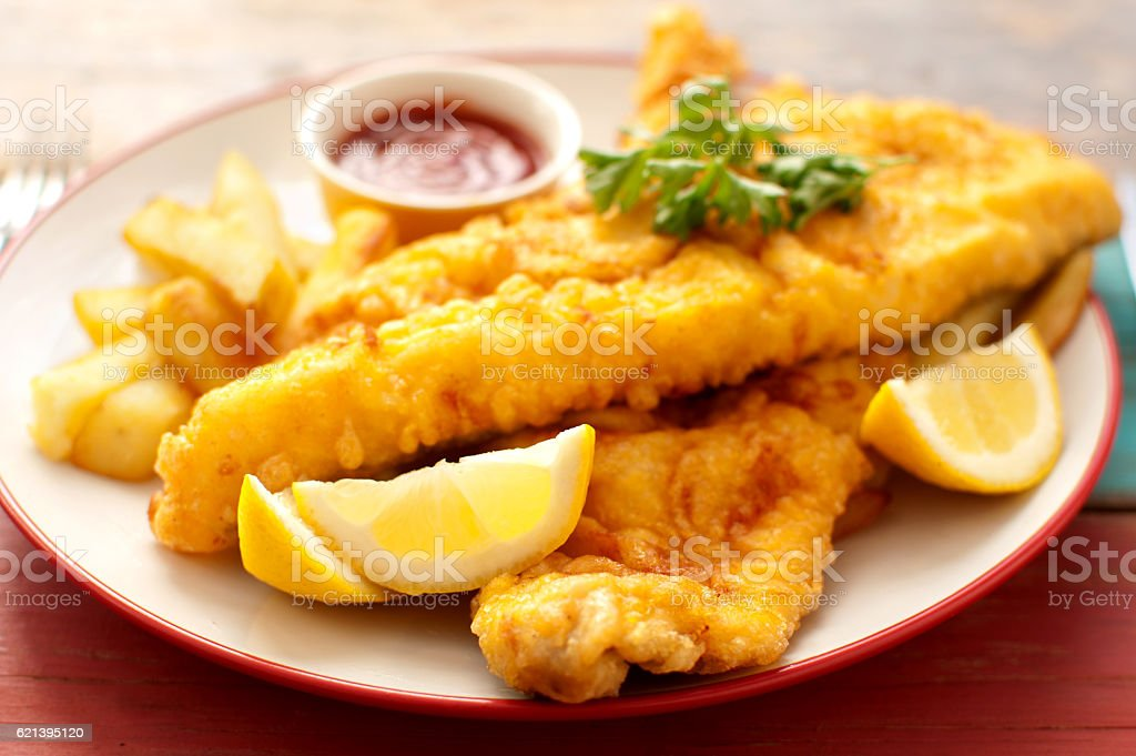 Plate of traditional fish and chips stock photo