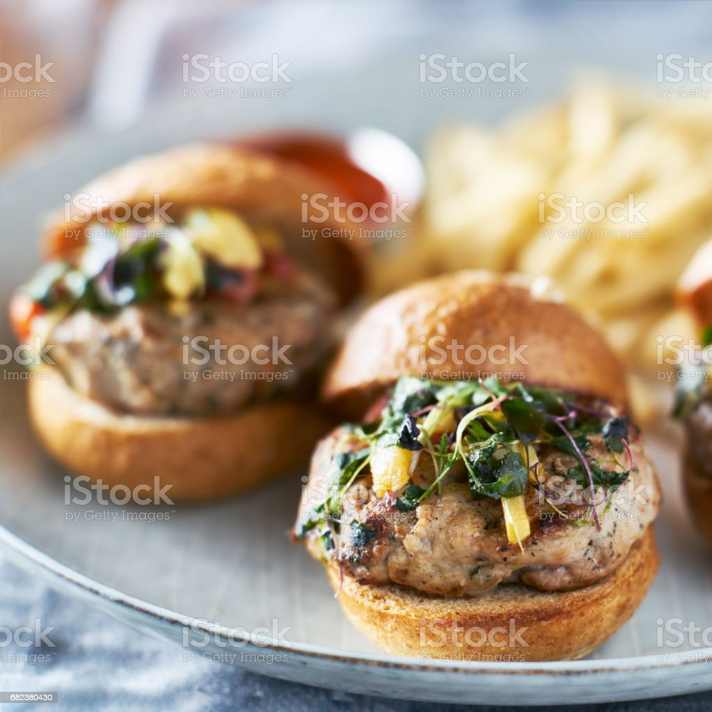 plate of turkry burger sliders with fries royalty-free stock photo