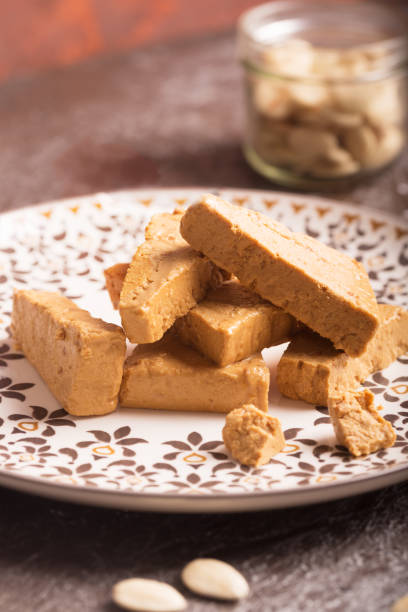 Plate of turron, typical Christmas food in Spain stock photo