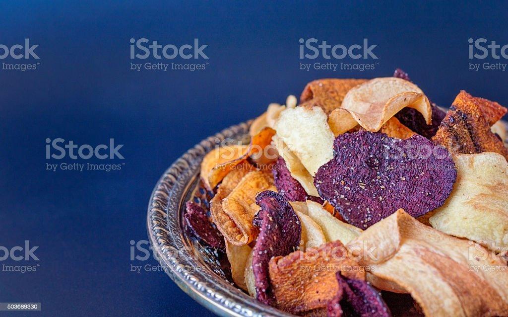 Plate of Vegetable Crisps stock photo