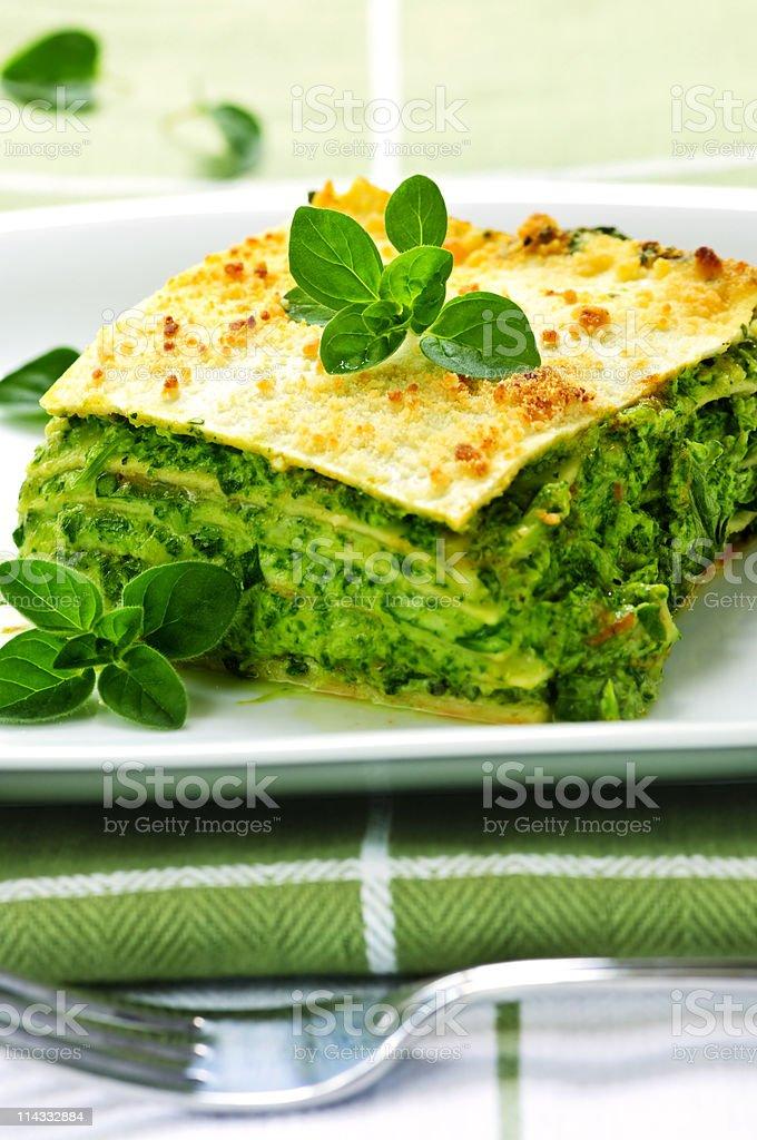 Plate of vegeterian lasagna stock photo