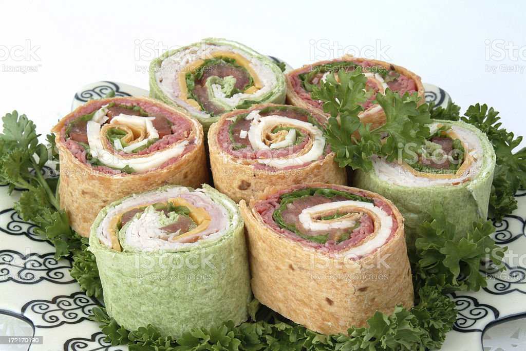 Plate of Wraps royalty-free stock photo