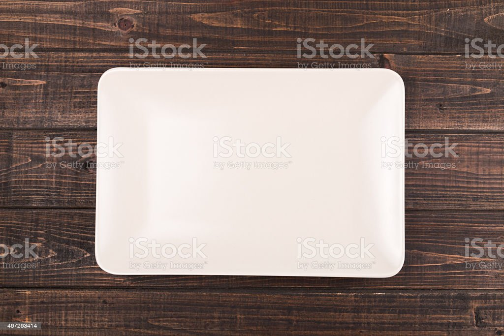 Plate on table stock photo