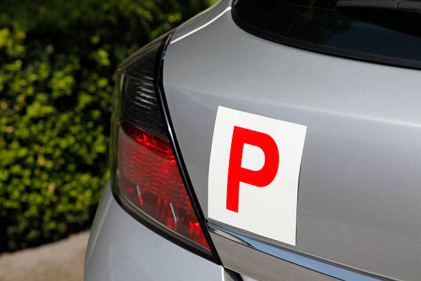 P Plate Probationary Plate on Silver Car letter p stock pictures, royalty-free photos & images