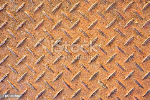 615100828istockphoto Plate steel pattern 1187389952