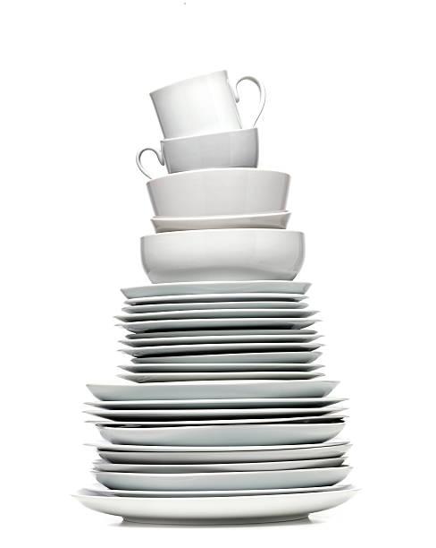 plate tower - yemek takımı stok fotoğraflar ve resimler