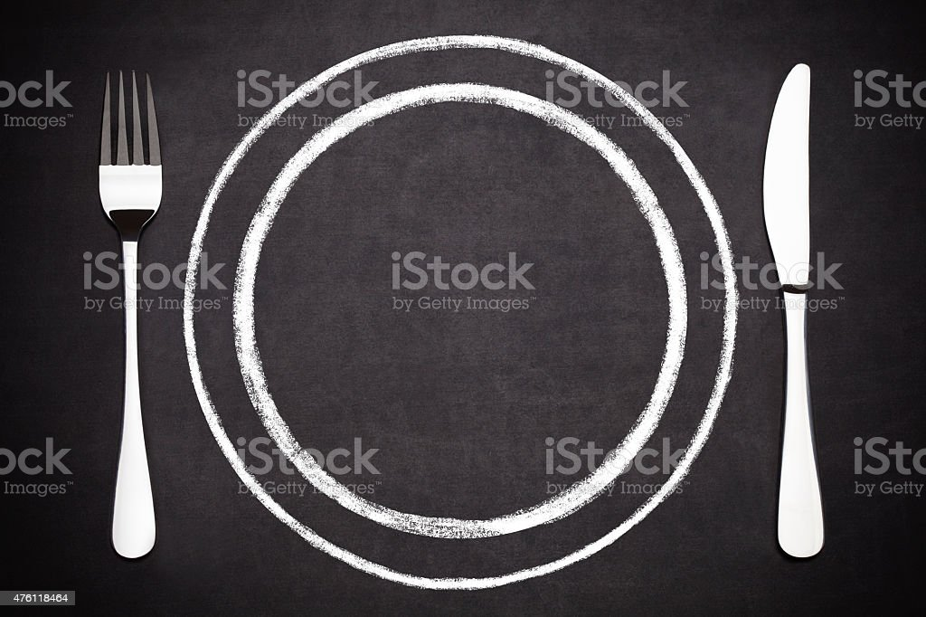 plate with a fork and a knife stock photo