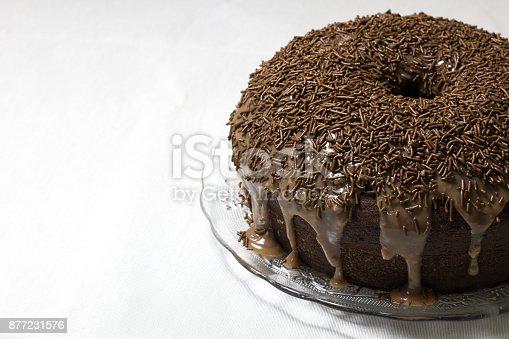 istock Plate with a traditional brazilian dessert - brigadeiro cake 877231576