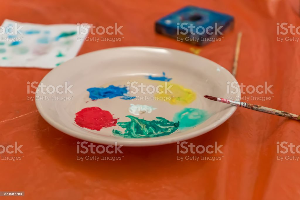 Plate With Acrylic Paint For Decoration Stock Photo Download Image Now Istock
