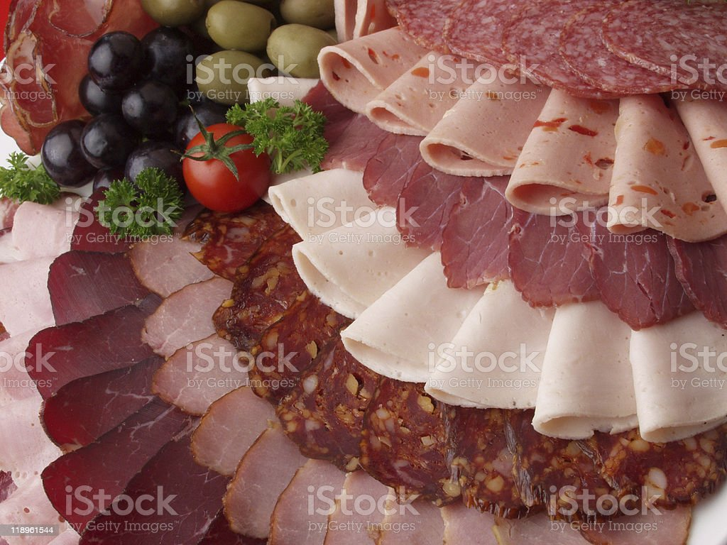 Plate with beautifully arranged deli meat stock photo
