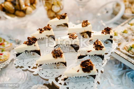992836992 istock photo Plate with cakes decorated dessert table for a party. Delicious sweets on buffet. Table with muffins, candy for a party goodies on wedding banquet area. Close up. candy bar. flat lay. top view. 1132581242
