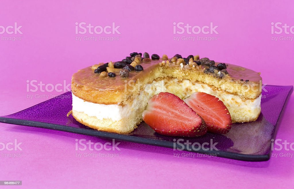 Plate With Cheescake And Strawberries royalty-free stock photo