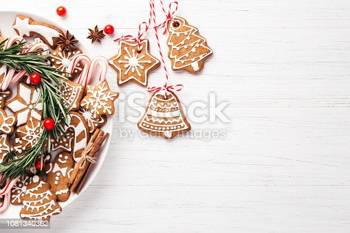 istock Plate with Christmas gingerbread cookies. 1081340362
