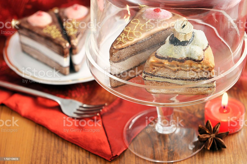 Plate with Christmas ornament glass pastry royalty-free stock photo