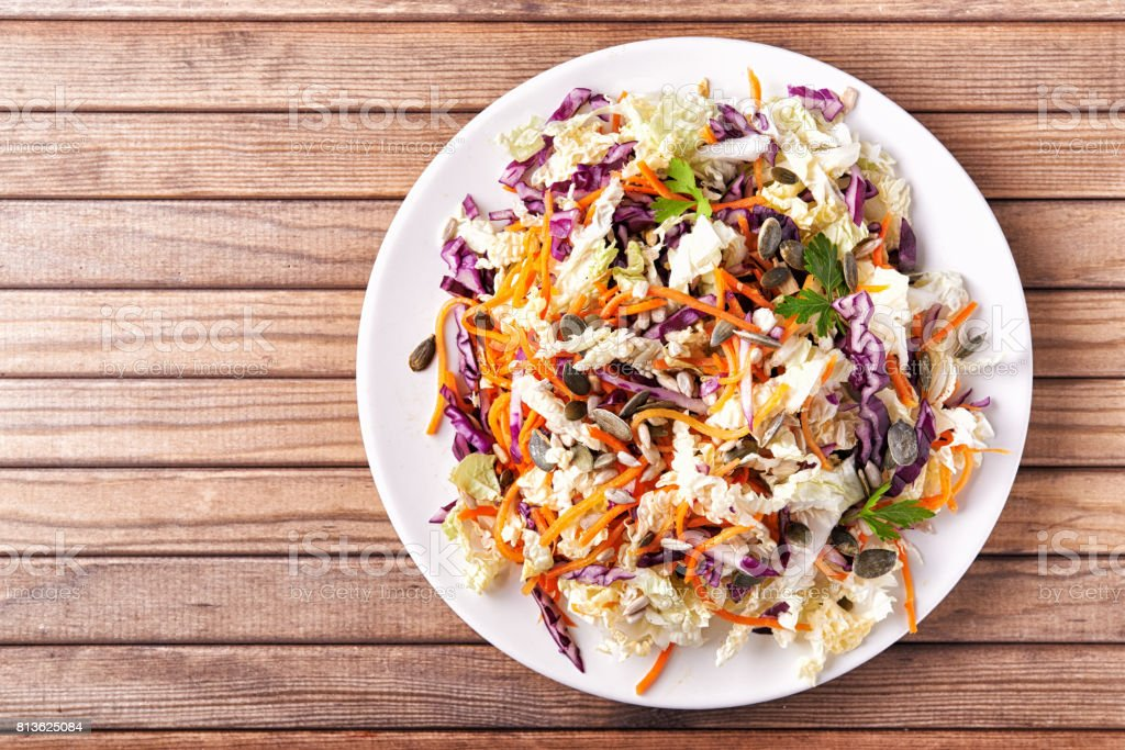 plate with coleslaw stock photo