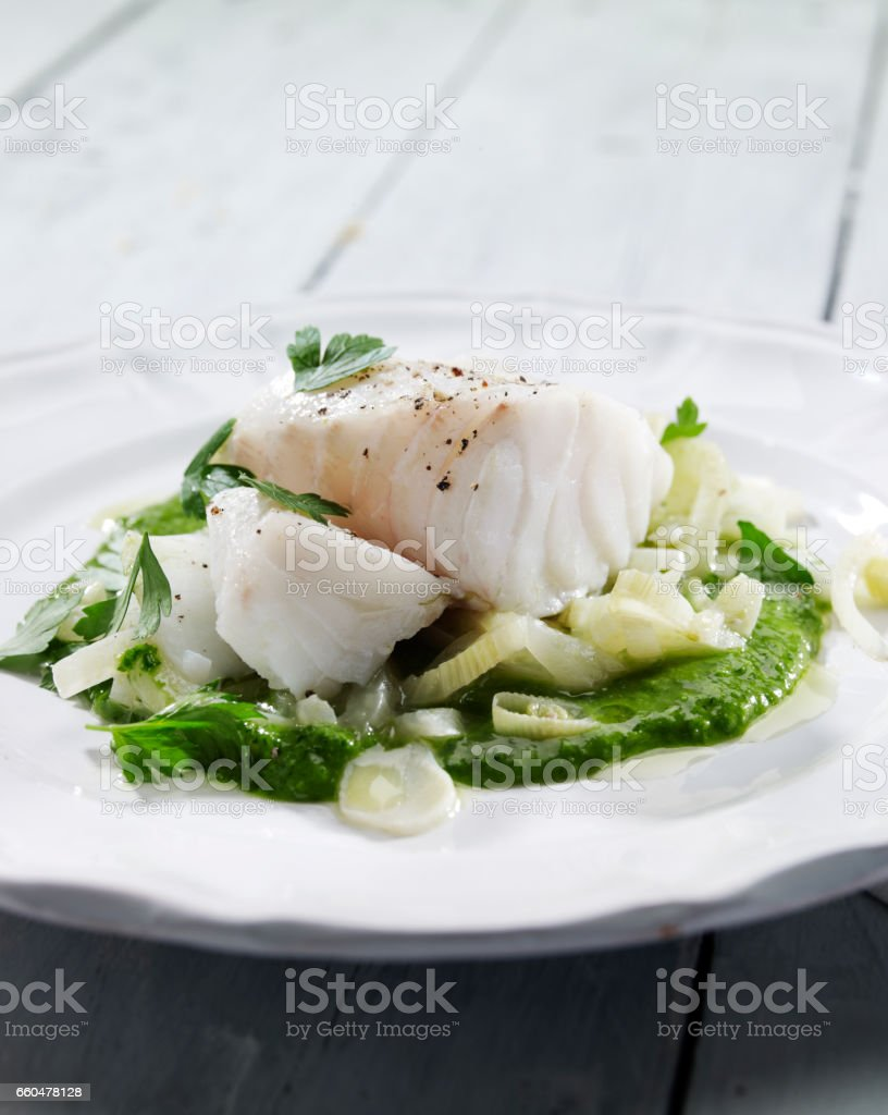 Plate with fish stock photo