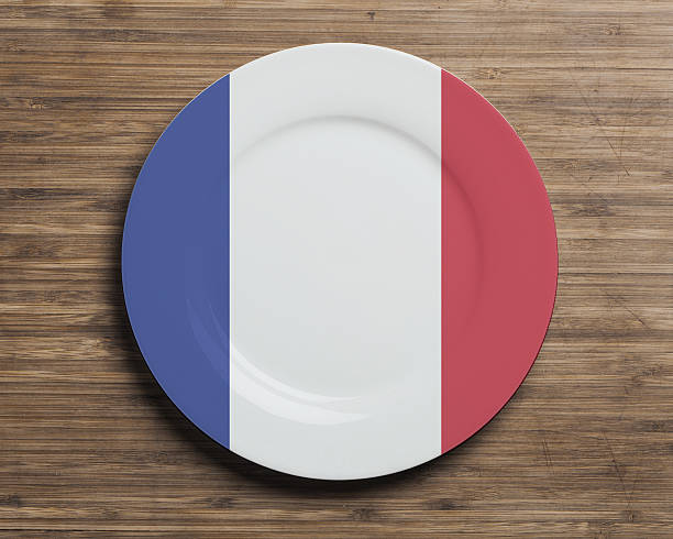 Plate with France flag overlay stock photo