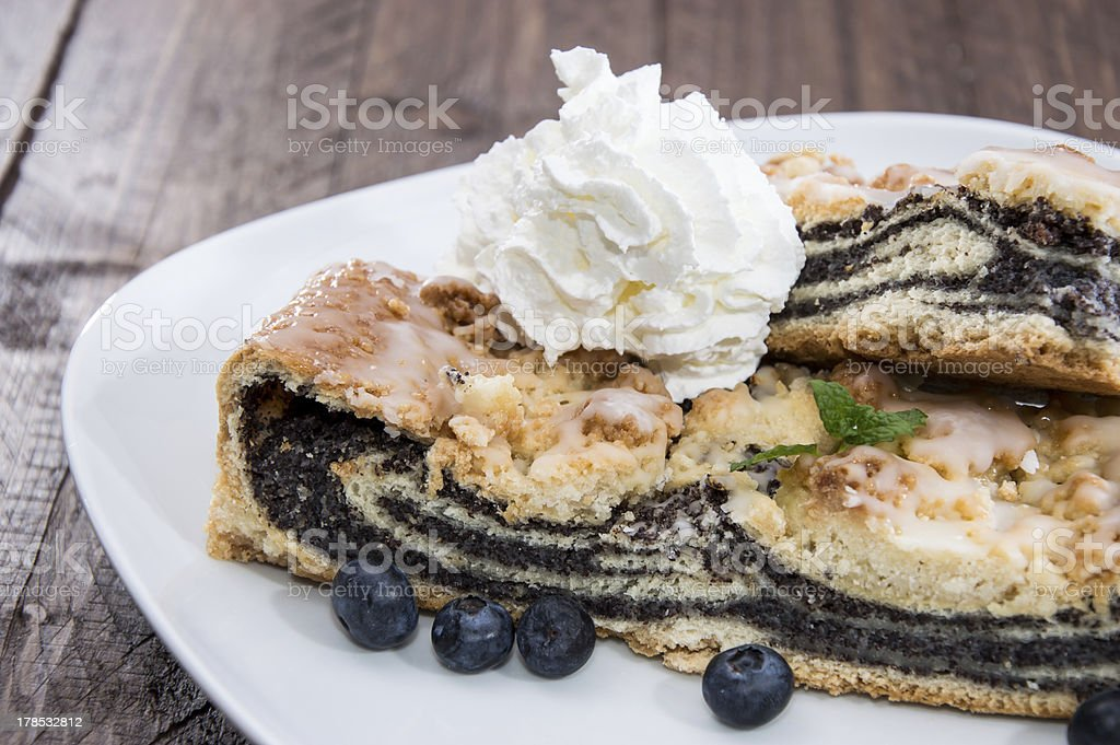 Plate with fresh Poppy-Seed Cake royalty-free stock photo