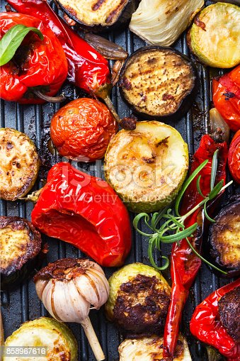 grilled vegetables on a fashionable metal plate