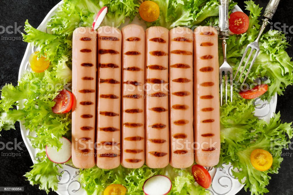 Plate With Grilled Wurst stock photo