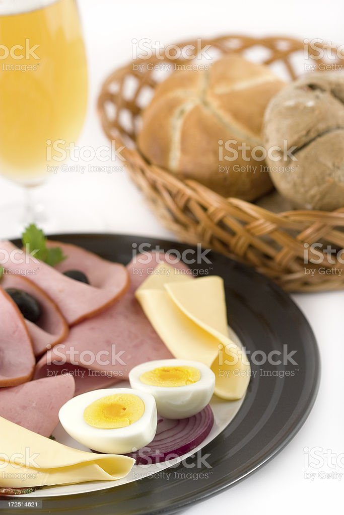 Plate with ham, cheese and eggs royalty-free stock photo