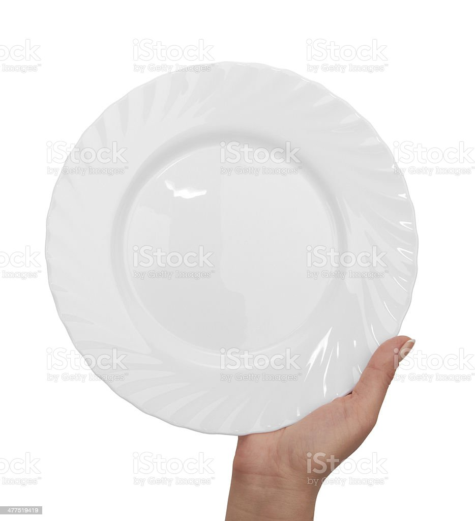 plate with hand stock photo