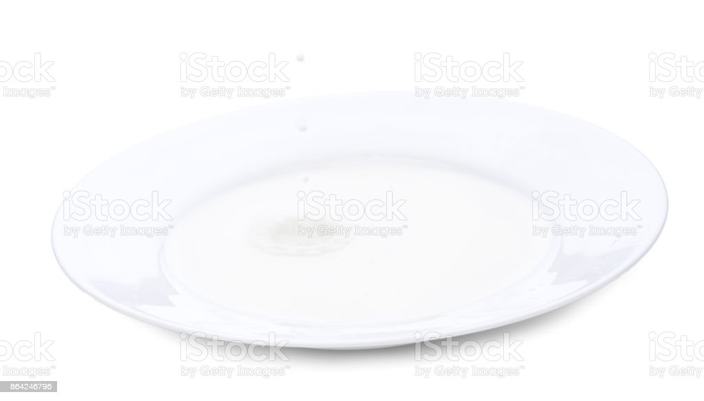 Plate with milk and milk falling milk drops. Horizontal close-up image, isolated over white royalty-free stock photo