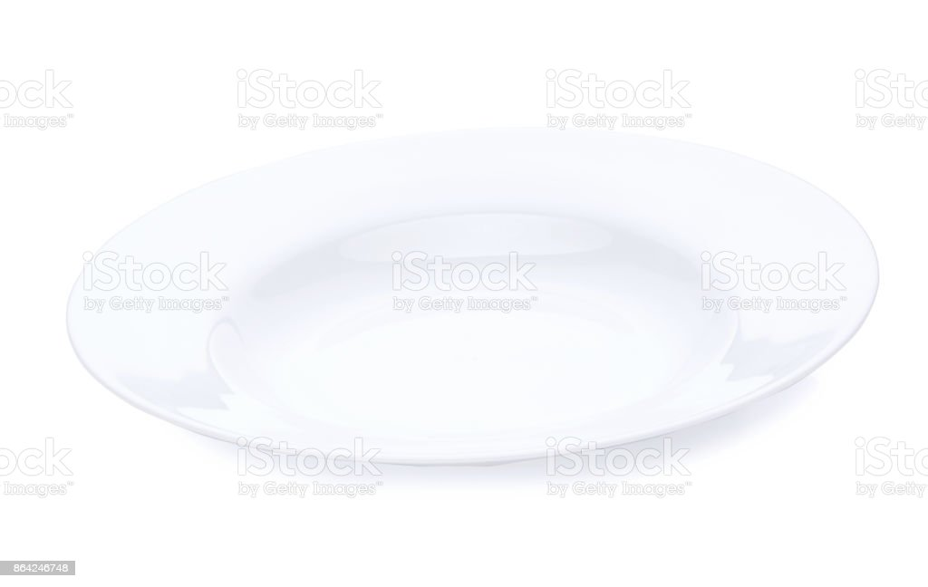 Plate with milk, milk surface is calm. Horizontal close-up image, isolated over white royalty-free stock photo