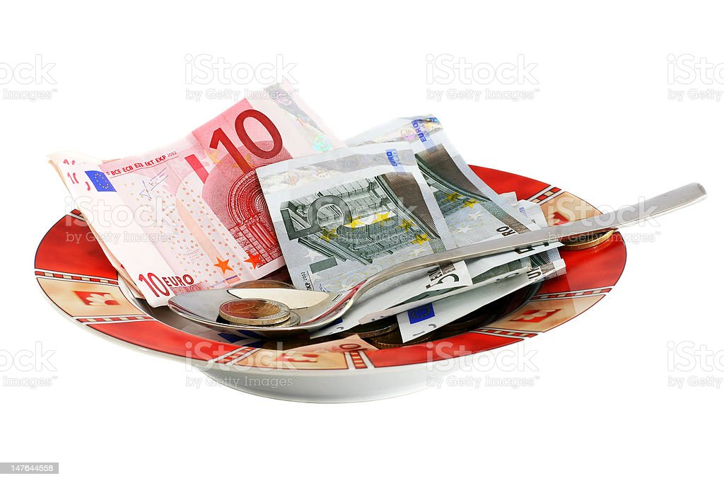 Plate With Money royalty-free stock photo