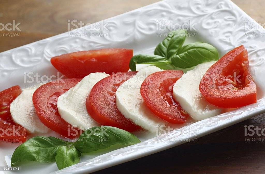 Plate with mozzarella stock photo