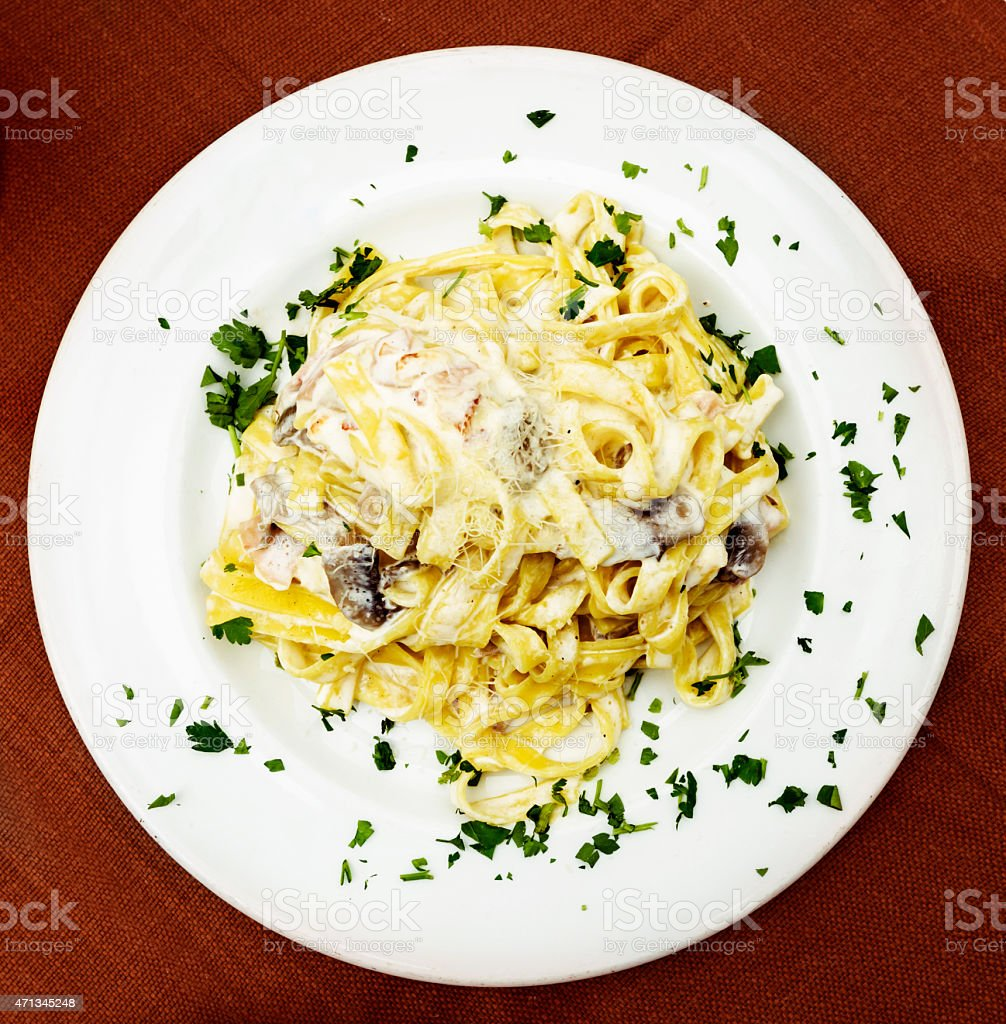 plate with pasta stock photo
