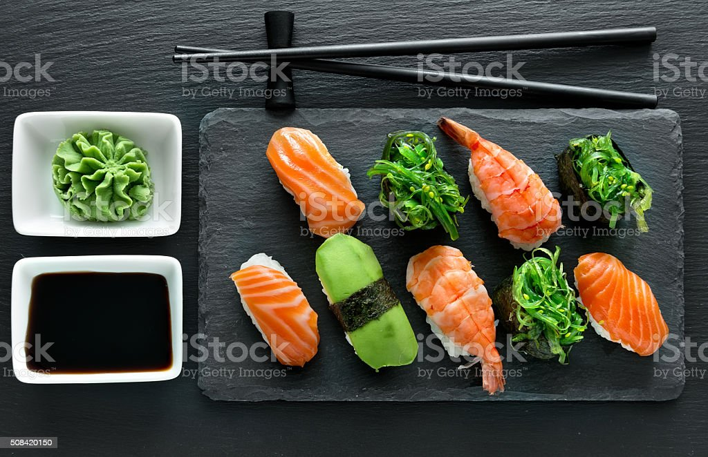 Plate with sushi stock photo