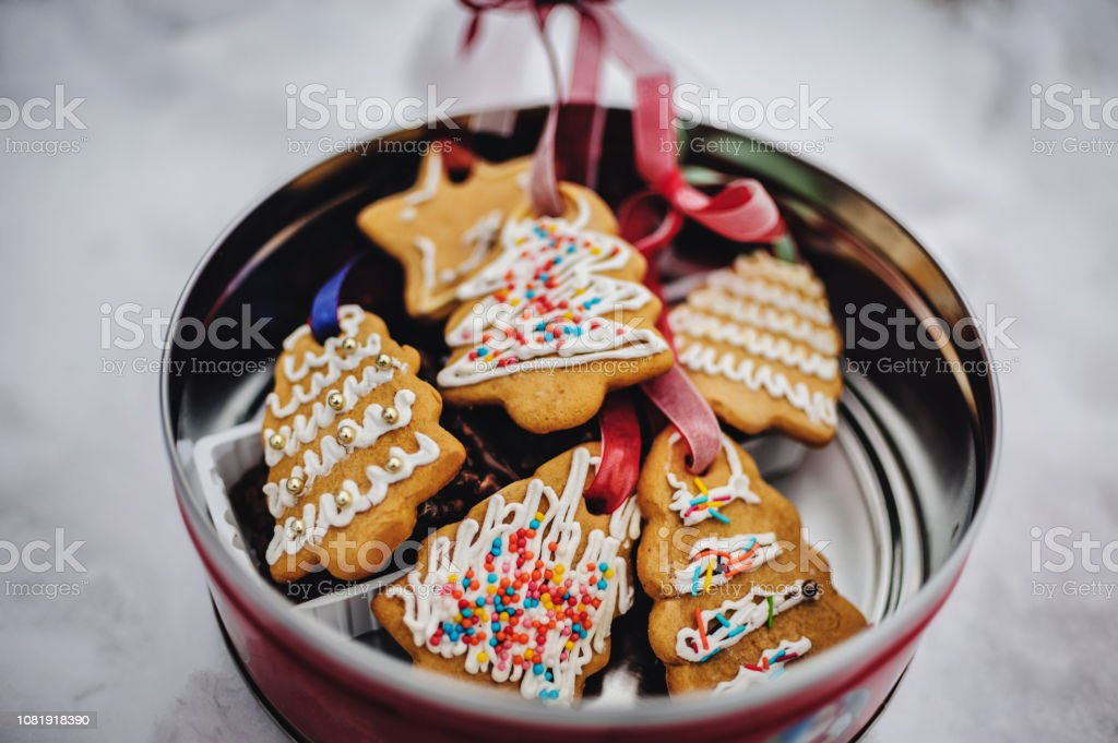 Plate With Tasty Christmas Cookies Gingerbread On Snowy Background