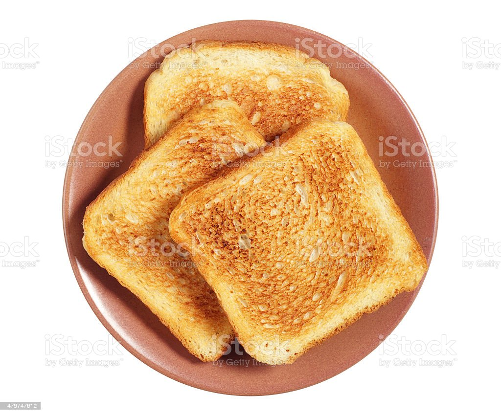 Plate with toasted bread stock photo