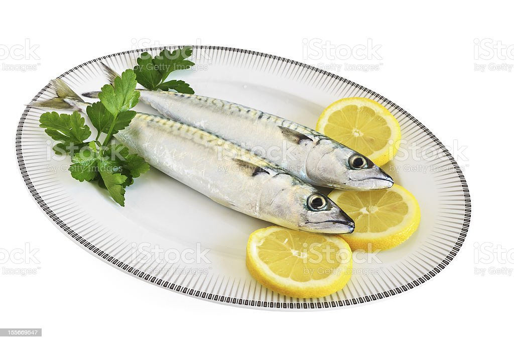 plate with two mackerels stock photo