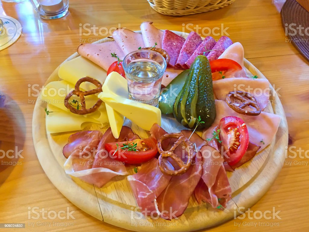 Plate with typical bavarian food stock photo
