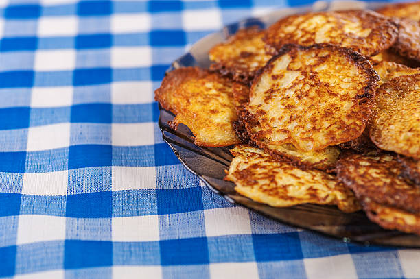 Plate with vegetable fritters stock photo