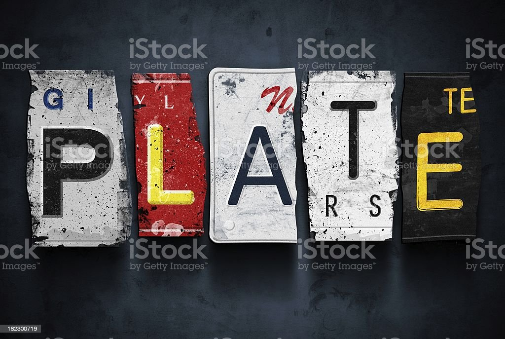 Plate word on vintage car license plates, concept sign royalty-free stock photo
