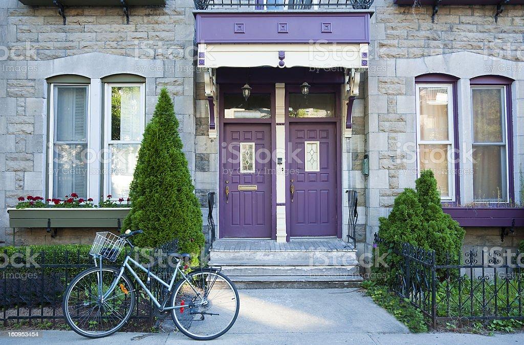Plateau Mount Royal Purple Doors stock photo
