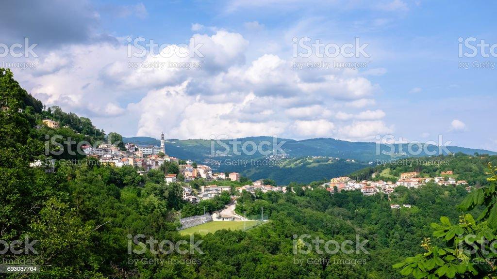 Plateau of Asiago, view of Lusiana (Altopiano di Asiago) - foto stock