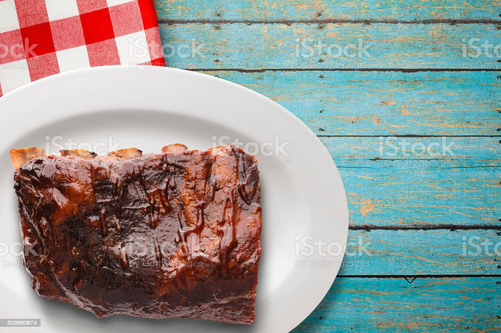 Plated Baby Back Pork Ribs stock photo