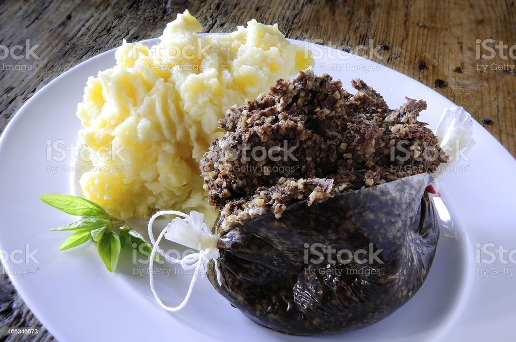 plated haggis sweede and potatomeal stock photo