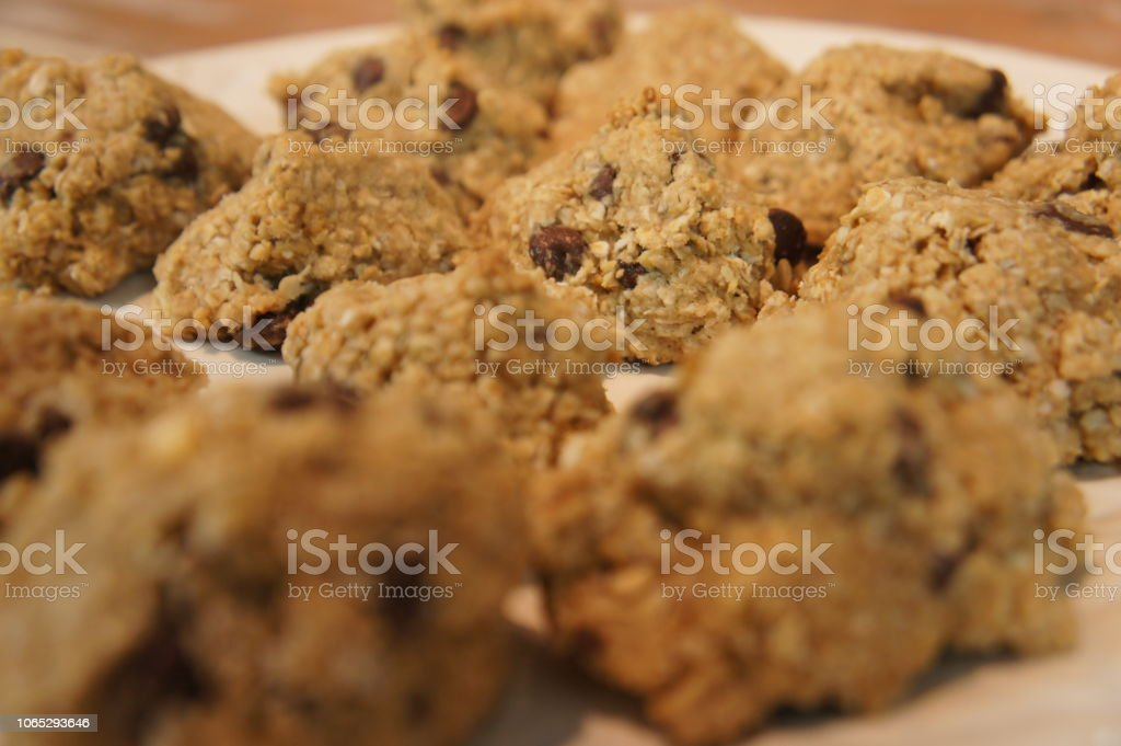 A plateful of freshly baked healthy cookies stock photo